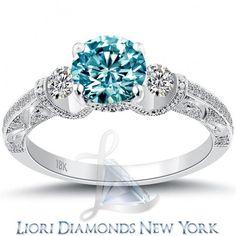 1.74 Carat Fancy Blue Diamond Engagement Ring 18k White Gold Vintage Style - Fancy Color Engagement Rings - Engagement - Lioridiamonds.com: