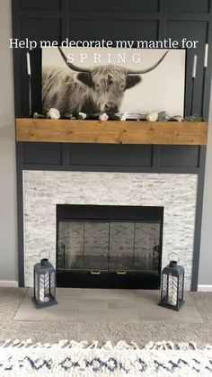 Wood Mantle Fireplace, Rustic Fireplaces, Fireplace Remodel, Fireplace Mantle, Living Room With Fireplace, Fireplace Surrounds, Fireplace Design, Halloween Fireplace, Electric Fireplace With Mantle