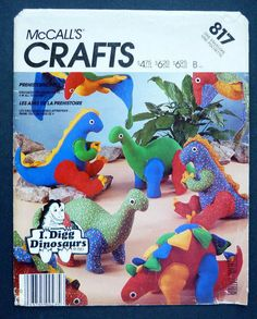817/2577 Vintage McCall's PREHISTORIC DINOSAURS PETS Sewing Pattern, Uncut #McCallsCrafts