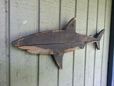 New for shark week Shark art made of recycled by JohnBirdsong Wood Supply, Wooden Art, Wooden Fish, Fish Art, Shark Week, Shark Decorations, Pallet Art, Pallet Projects, Woodworking Projects