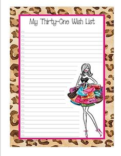 Thirty-One Wishlist - hand them out at parties for people to make notes on! Thirty One Party, Thirty One Bags, Thirty One Gifts, List Template, Templates, Thirty One Consultant, Independent Consultant, 31 Party, Thirty One Business