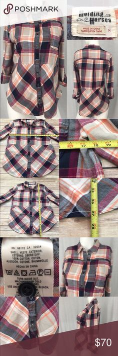🍭Medium Anthro Holding Horses Plaid Button Up Top Measurements are in photos. Normal wash wear, no flaws E2  I do not comment to my buyers after purchases, due to their privacy. If you would like any reassurance after your purchase that I did receive your order, please feel free to comment on the listing and I will promptly respond. I ship everyday and I always package safely. Thanks! Anthropologie Tops Button Down Shirts