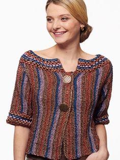 Metallic - Funky Stripes Cardigan: free #crochet pattern