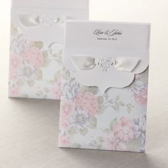 Floral Pocket with a Heart Wedding Invitations