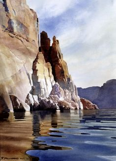 David Drummond, watercolor painting with great water reflection.