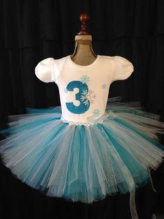 The Frostilen- Third birthday outfit for girls, 3rd birthday tutu, number 3 shirt, frozen birthday outfit, frozen tutu, turning 3 outfit
