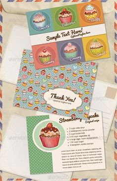 Vintage Cupcakes Postcard Set — Photoshop PSD #fun #bakery • Available here → https://graphicriver.net/item/vintage-cupcakes-postcard-set/5471155?ref=pxcr