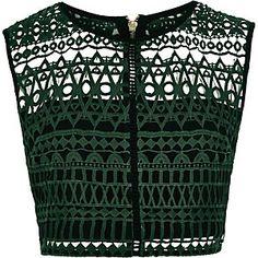 Dark green embroidered crop top
