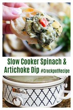 Slow Cooler Spinach & Artichoke Dip #CrockpotRecipe Get the full recipe here ---> https://aimeeinthekitchen.com/slow-cooker-spinach-and-artichoke-dip-recipe/ Vegan Crockpot Recipes, Healthy Dip Recipes, Best Vegetarian Recipes, Delicious Dinner Recipes, Real Food Recipes, Healthy Food, Unique Recipes, Amazing Recipes, Spinach Artichoke Dip