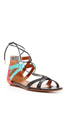 Beverly Hills Printed Leather Sandals by Aquazzura Now Available on Moda Operandi