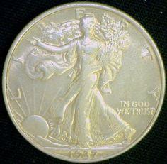 Walking Liberty 1937 Brilliant AU 90 Silver by riggsbyscorner, $42.50