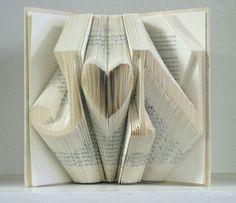 Custom Folded Book Art Sculpture  She hearts Him  di RecycledReads, $60.00