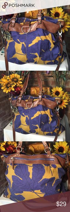 Hayden Harnett Large Tote Bag Large tote- Sz 15x19- Good condition- (2) 9' handles- (1) 21' strap- Blue/yellow color- Gold hardware- Very roomy- Very nice! Hayward Harnett Bags Totes