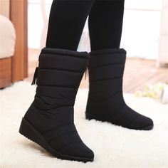 Women Boots Female Down Winter Boots Fringe Warm Girls Ankle Snow Boots Ladies Shoes Woman Warm Fur Botas Mujer Ankle Snow Boots, Black Snow Boots, Warm Snow Boots, Ankle Shoes, Winter Shoes For Women, Waterproof Winter Boots, Womens Shoes Wedges, Shoe Wedges, Shoe Boots