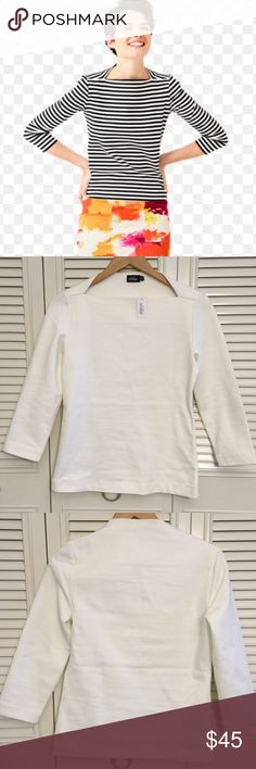 White Kate Spade Saturday Shirt NWT Perfect shirt for work on a cool day. Boat neck. 97%cotton. Length- 24 inches, sleeve length- 19 inches, waist- 15 inches. Kate Spade Saturday Tops Tees - Long Sleeve
