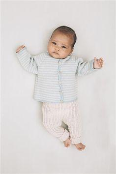 1415: Modell 7 Raglanjakke, bukse i vrangbord #baby #knit #strikk