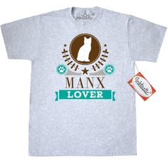 Inktastic Manx Cat Lover Gift T-Shirt Pets Cats Pet Mens Adult Clothing Apparel Tees T-shirts Hws, Size: Large, Grey