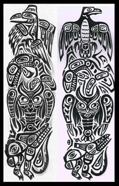 Totem pole  Raven Killer wale Owl and Wolf #marquesantattoosdesigns