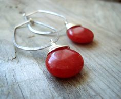 Valentines Day Sterling Long Hoops With Red by FuchsiaBloomStudio, $32.00