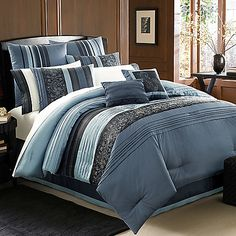 $249.99 Manor Hill Cleo Sapphire Comforter Set from Bed Bath and Beyond.  This will look fantastic when my room is painted like the night sky, and it's not too girly or too masculine, so Husby and I can both love it!  <3 LA