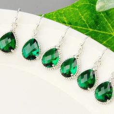 Emerald Green Bridesmaid Earrings Set of 6  by MyDistinctDesigns