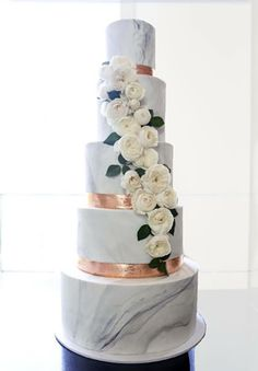 Marble White 2017 Wedding Cake Trends - Hottest Wedding Cake Trends for 2017 - Discover wedding cake inspiration for your big day, from elegant marble to nature inspired geode cake designs.