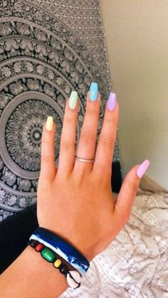 nagel design ideen regenbogen farbe im sommer 2019 53 elroystores com rainbow nails 43 best toe nails design ideas for spring and summer style Simple Acrylic Nails, Summer Acrylic Nails, Best Acrylic Nails, Colorful Nails, Simple Nails, Acrylic Nails Designs Short, Acrylic Nail Designs For Summer, Acrylic Nails Pastel, Summery Nails