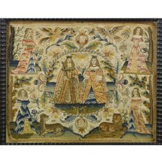 A fine English silk and metal-thread needlework picture depicting Charles II and Catherine of Braganza circa 1665 | Sotheby's