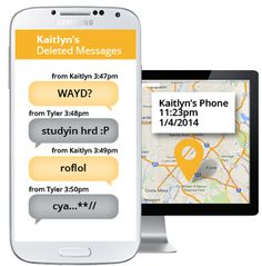 A picture showing how you can monitor your child's text message and track your teenager with GPS on the Android phone.