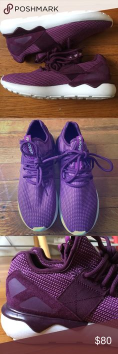 Adidas Tubular Runner NWOT Purple adidas tubular runner! NWOT. I love these shoes but unfortunately they are a little big on me. Hopefully someone else can put these to good use :) Adidas Shoes Sneakers