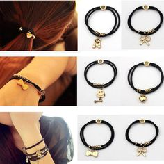 Black Elastic Hair Ties with Cute Charms || $3 each; $5 for 2; $7.50 for 3; $9 for 4|| $2 each orders of 5 or more