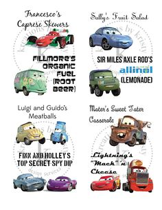 Cars 2 Birthday Party food tags | kreations by kristy
