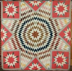 This CRISP, STURDY cotton star of Bethlehem quilt is hand pieced and hand quilted, with a variety of vibrant early fabrics dating from pre-1830 through the 1860's.