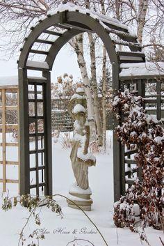 Aiken House & Gardens: Our Winter Garden - arbor and statue