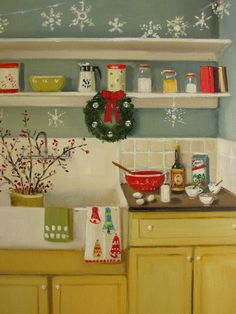 Christmas Art (A Spirited Eff Nog by Janet Hill, Original Oil Painting on Stretched Canvas, 9 x 12)