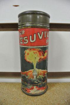 Very Cool Vintage Original Mosler Vesuvius Spark Plug Tin Volcano Graphics No Re  | eBay