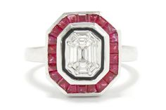 The Flagstaff Art Deco style emerald cut diamond ruby engagement ring. This design has significant finger coverage, boasting 1 1/3 carats of sparkling, rich fire and color. The center cluster of emerald and baguette cut diamonds are encased in a halo of vivid, French and calibre' cut rubies glowing with a bright luster. #engagementring #diamond #ruby #platinum #love #ido #clusterring #clusterrings #octagonring #diamonds #diamondring #diamondrings #rubies #diamonds #rubyring #rubyrings #artdeco Estate Engagement Ring, Antique Engagement Rings, Emerald Cut Diamonds, Diamond Cuts, 3 Carat, Cluster Ring, Art Deco Fashion, Jewelry Stores, White Gold