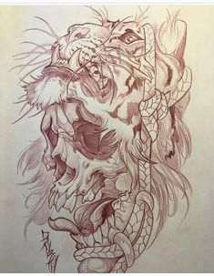 Browse for the best tattoos ideas for men and women along with good adv. Skull Tattoos, Body Art Tattoos, Sleeve Tattoos, Irezumi Tattoos, Tatoo Art, Lion Tattoo, Tattoo Ink, Tiger Tattoo Design, Tattoo Designs