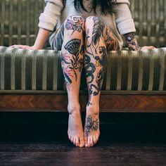 black thistle #leg #tattoos
