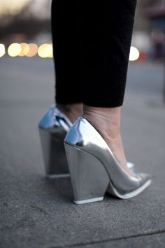 Metallic Céline heels that'll look as fresh come Spring as they do now against black trousers. Mode Shoes, Street Style Shoes, Silver Heels, Dream Shoes, Fashion Shoes, Style Fashion, Fashion Design, Daily Fashion, Designer Shoes
