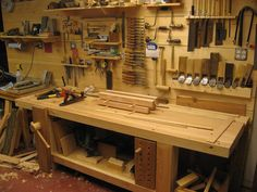WoodNet Forums: Why a Wall Hanging Tool Chest Over a Tool Display Wall? Used Woodworking Tools, Woodworking Workbench, Woodworking Projects, Workshop Storage, Workshop Organization, Workshop Ideas, Stair Storage, Tool Storage, Workshop Cabinets