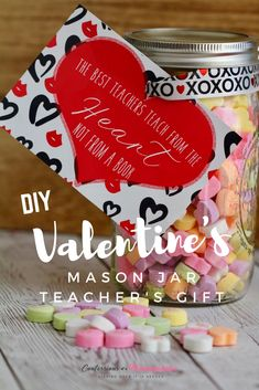 With Valentine's Day approaching, make the perfect DIY Mason Jar gift for teachers with a FREE printable label included, too.