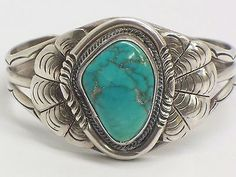 """Vintage Native American Sterling Silver Turquoise Cuff Bracelet 5"""""""