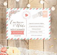 Invitación de boda estilo postal con detalle de flores y corazones. Invitation Cards, Invitations, Party, Wedding, Ideas, Wedding Invitations, Mariage, Cards, Boyfriends