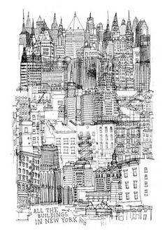 """""""All the buildings in New York"""" by James Gulliver Hancock. #illustration #New_York"""