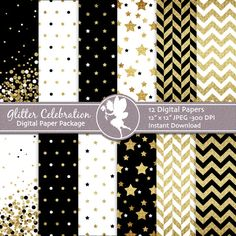 Glitter Digital Paper Pack Glitter Gold on by PlayfulPixieStudio