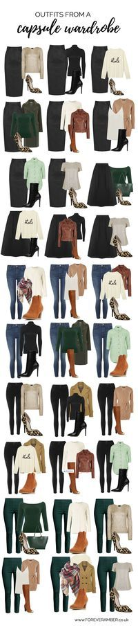 selection of outfits created from a capsule wardrobe