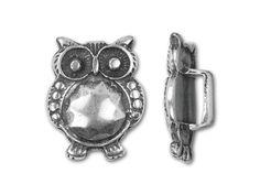 Regaliz Antique Silver-Plated 18.5x14mm Owl Slider Bead
