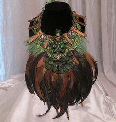 Large Feather Necklace Grand Green Bib Statement Necklace....,Only One for the One and Only You....Marelle