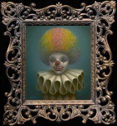 """Marion Peck. """"Rainbow Clown""""    Oil on canvas    13"""" x 11.5""""    2009"""